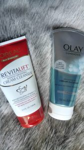 Olay and L'Oreal exfoliating cleansers.